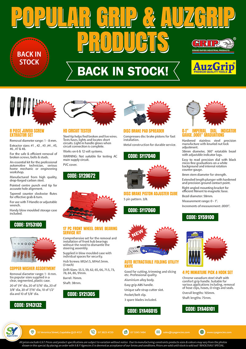 Back In Stock Grip n AuzGrip Brochure promo updated