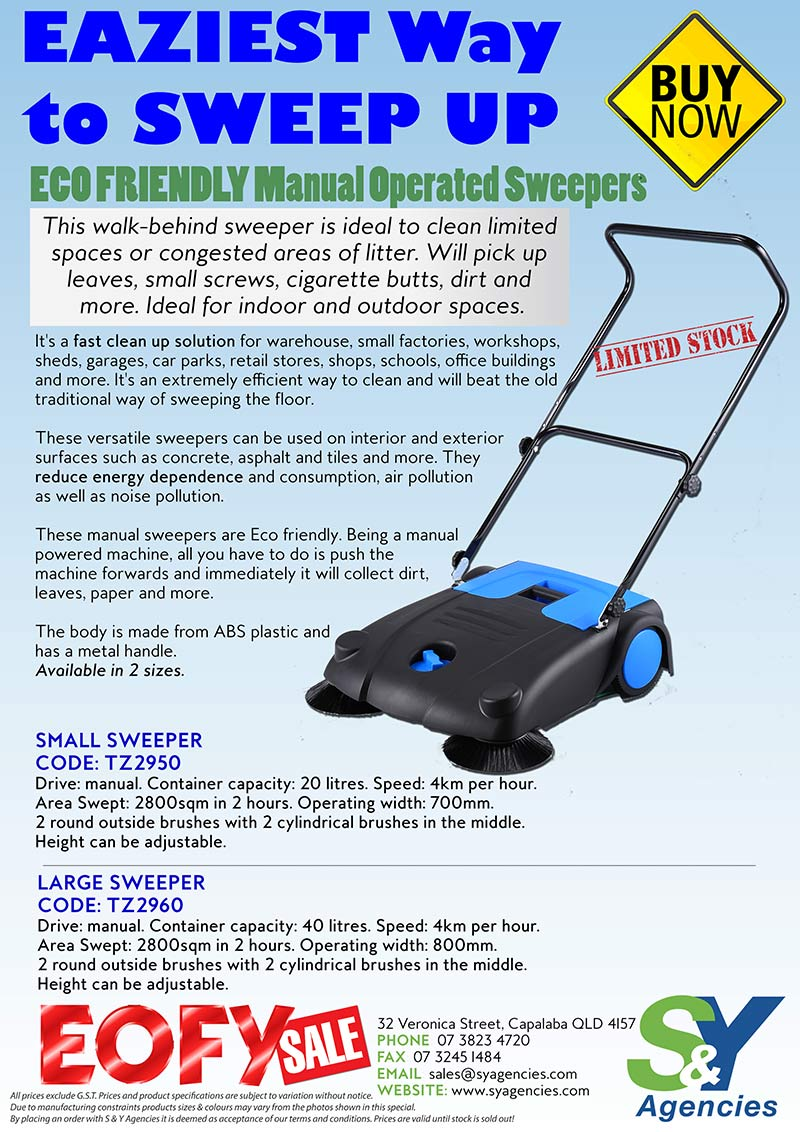 Eco Friendly Sweeper EOFY Sale Special no price