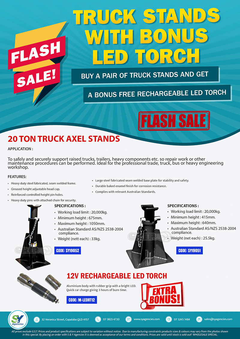FLASH SALE TRUCK STANDS WITH BONUS LED WORKLIGHT promo