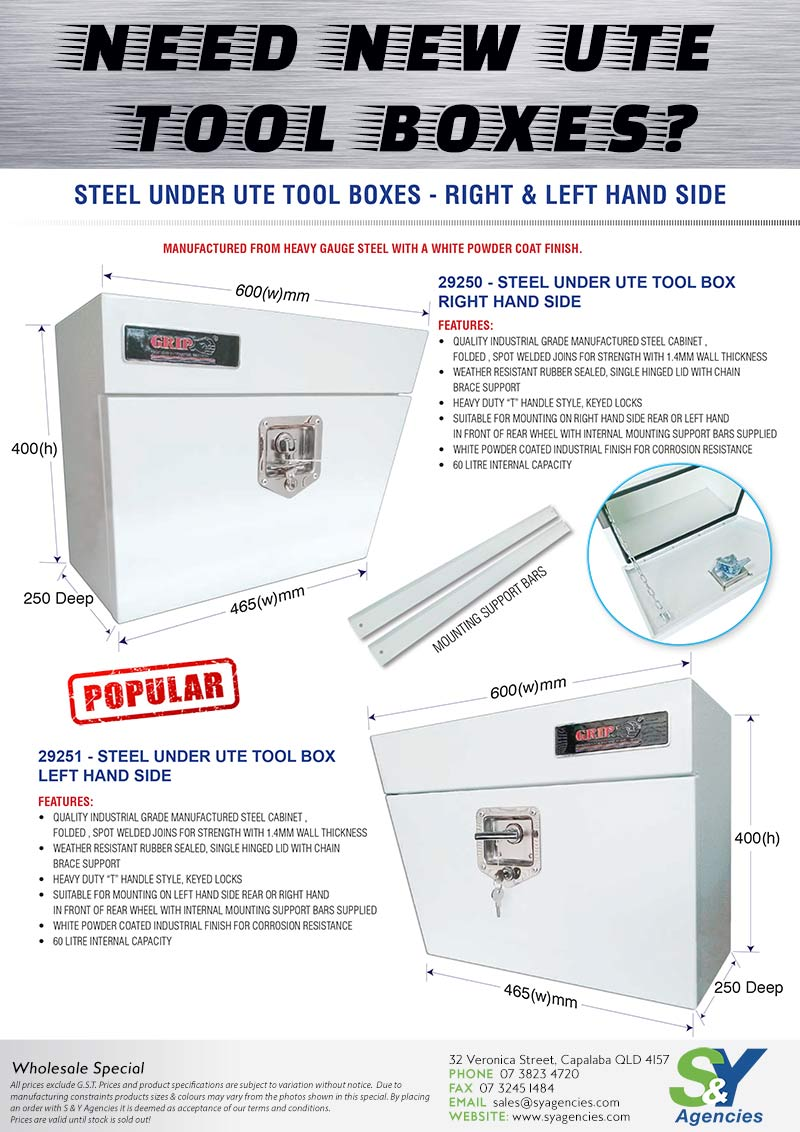 Grip Ute Tool Boxes Flier promo no price