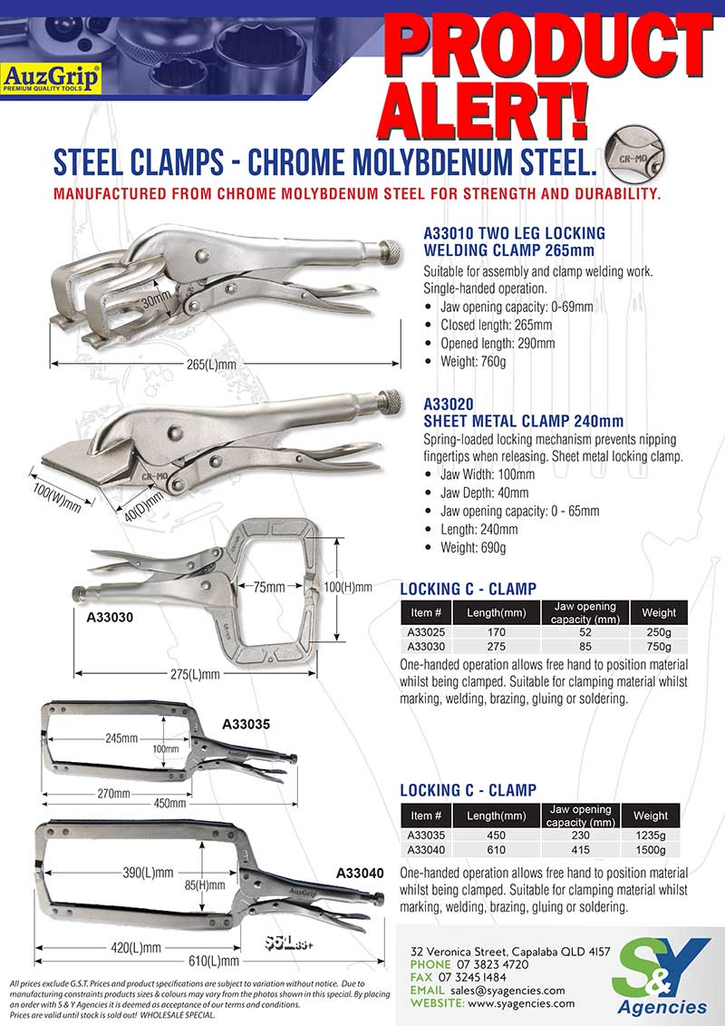 Product Alert Locking Steel Clamps and Locking Pliers page01 blank