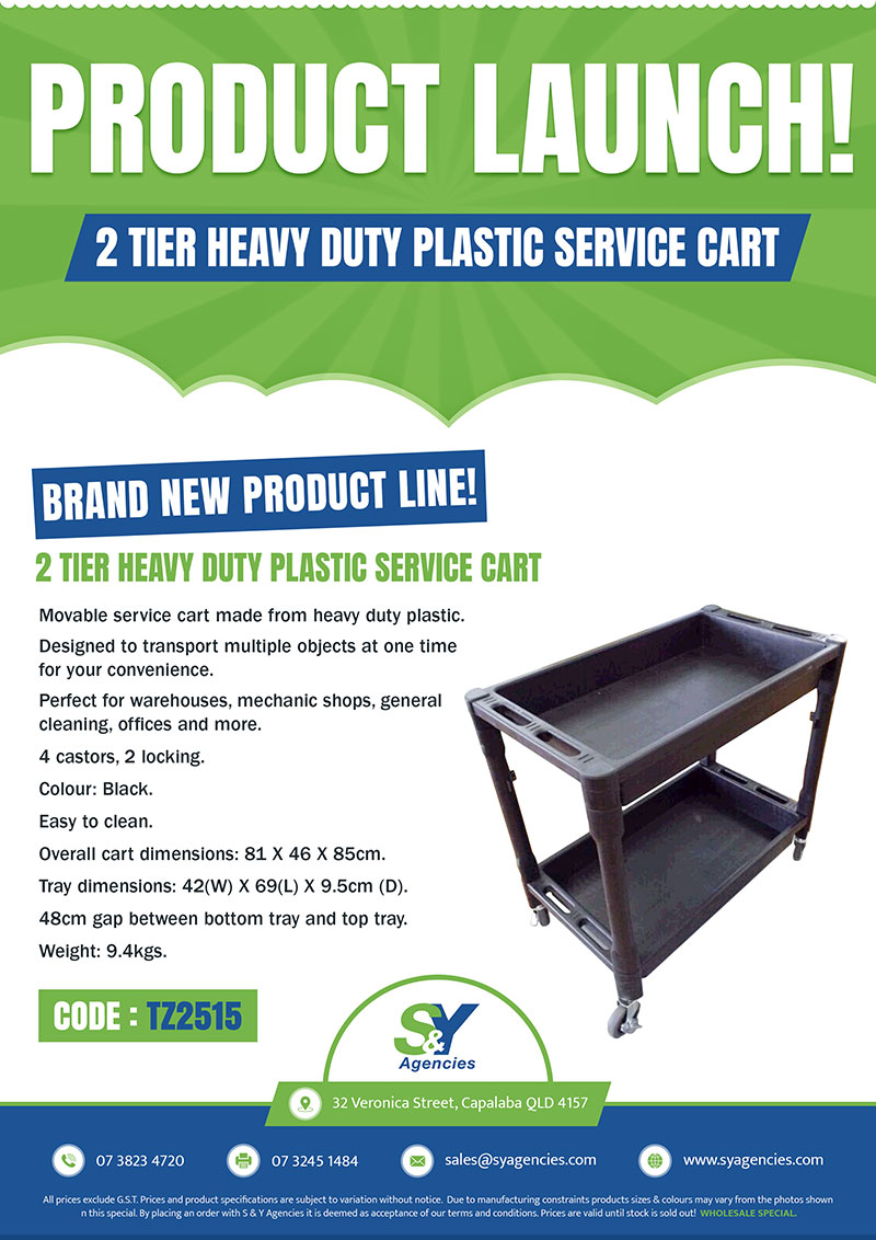 Product Launch 2 Tier Plastic Service Cart promo