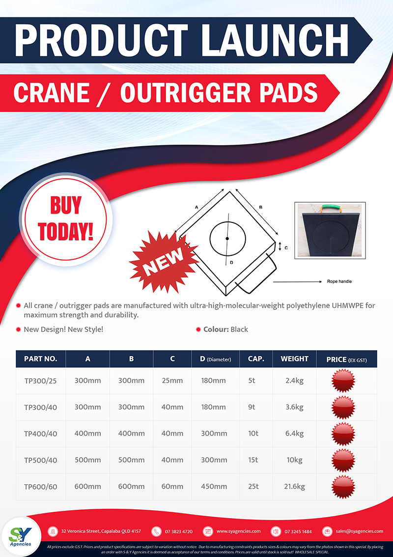Product Launch Crane Outrigger Pads promo