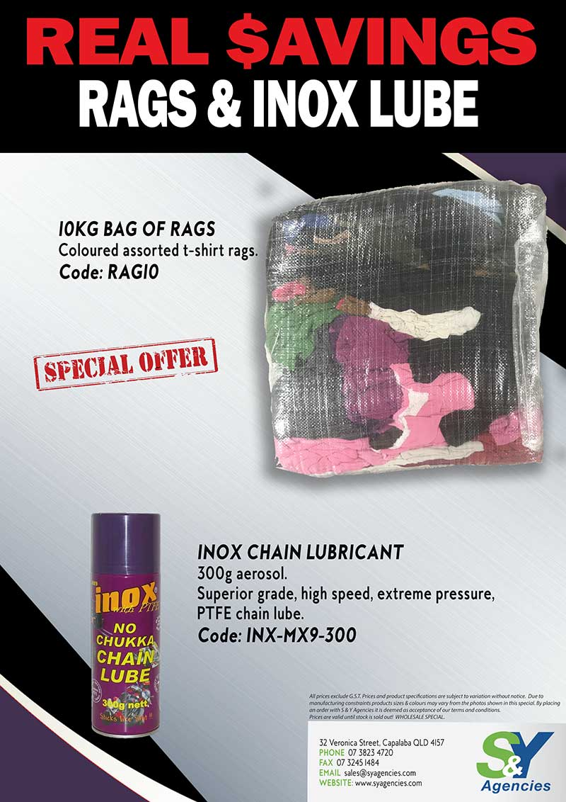 Real Savings Rags and Inox Lube promo