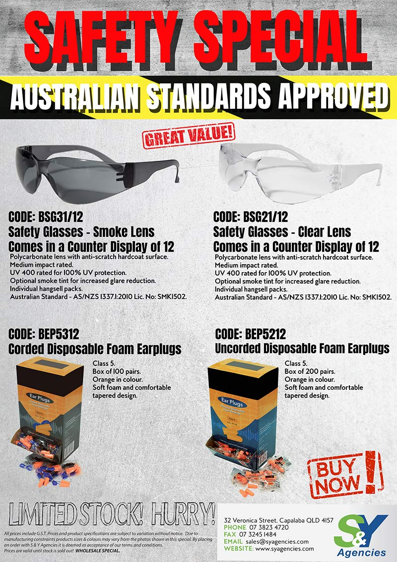 Safety Special on Safety Glasses and Ear Plugs no price promo