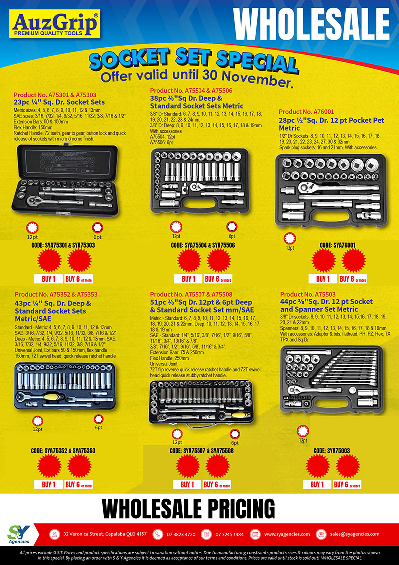 Socket Set Special wholesale pricing promo