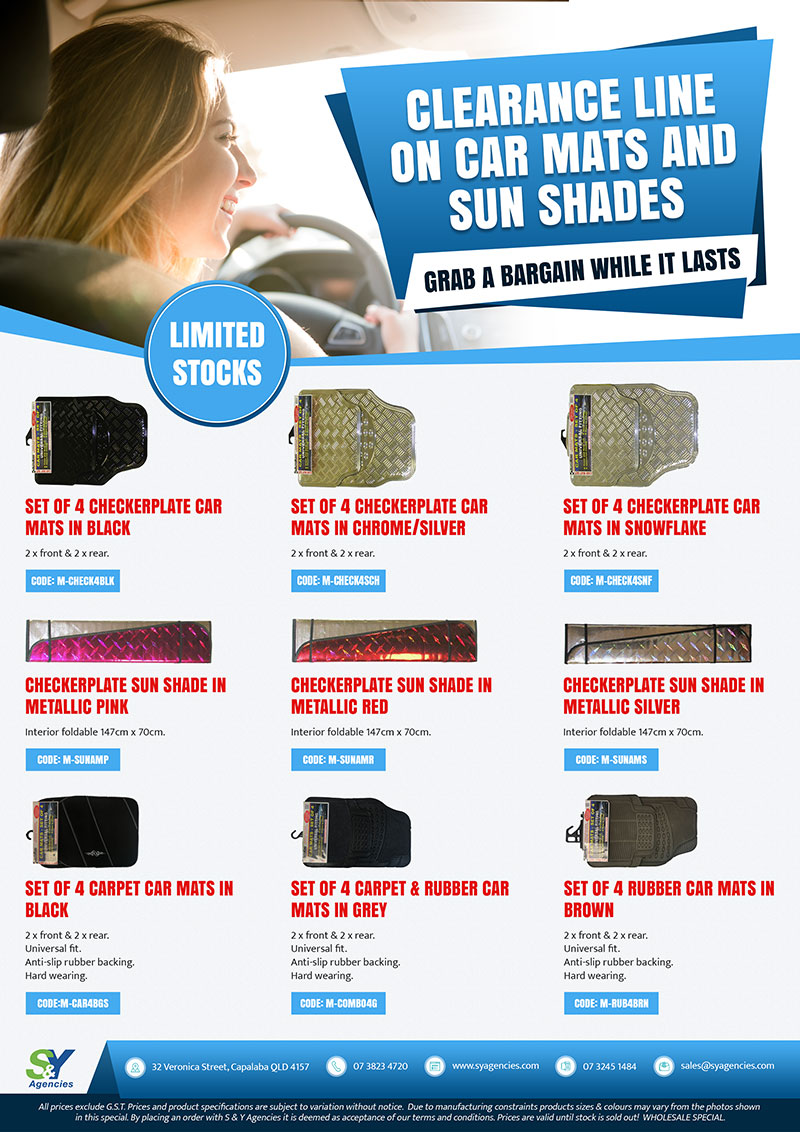 clearance line on car mats and sun shades promo