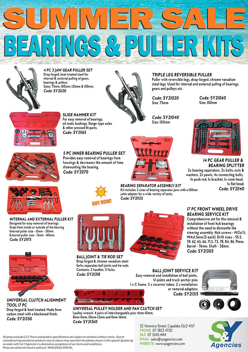summer sale bearings and puller kits promo