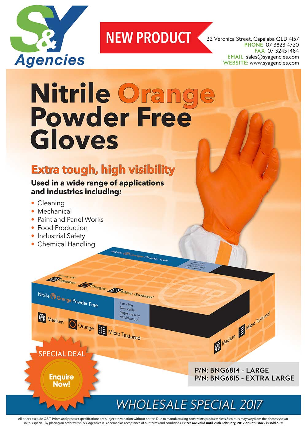 Nitrile Orange Gloves